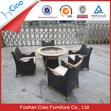 Quality gurantee Round teak wood table with aluminum foot cove rattan furniture