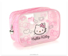 Helle Kitty Print Pink PVC Clear Cosmetic Bag