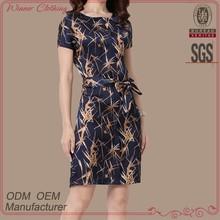 hot selling women's clothing garment manufacturing silk print slim fit mature ladies dresses dress woman 2015