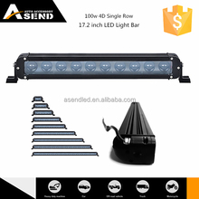 2015 Big Promotion 4D single row LED light bar for offroad turck, hot in canton fair100w spot flood combo beam led bar light 4x4