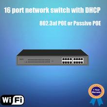 100Mbps 16 port ethernet poe switch support 802.3af 48V POE or 24V passive POE, working as DHCP server