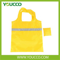Polyester Promotional Bag Cheap Folding Tote Bag with reflective Band