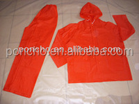 Red PVC rain suit,rain coat pant,reused waterproof PVC rain wear
