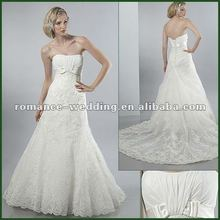 2012 New Style AF0012 Embroidered Lace Chaple Train Bead Satin Bride Wedding Dress