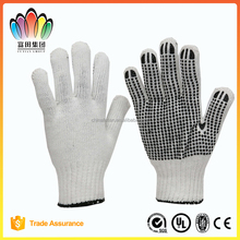 FT SAFETY One side PVC Dots 7G Knitted Safety Working gloves,Bleached polyester/cotton