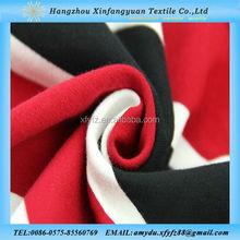 yarn dyed red black white stripe cotton spandex knitting fabric