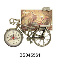 Cheap Mini Plastic Analog Table Alarm Clock Bike Shaped Clock with Photo frame For Decoration