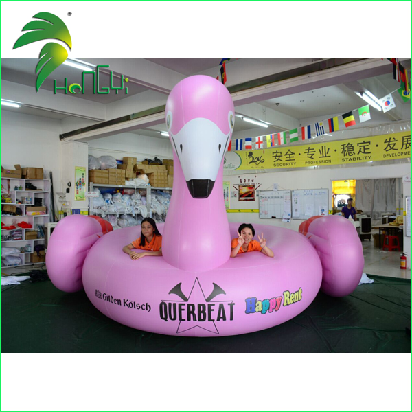 large pink inflatable swan