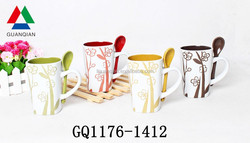 Liling factory screen printed ceramic mug and spoon bulk packing with food safe