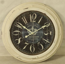 round antique white iron wall clock