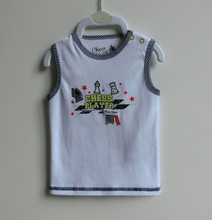100% Cotton comfortable and soft cute white vest for baby
