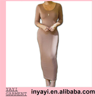 2015 Hotsale Wholesale Cheap Bodycon Tight Ankle length O neck Brown Long Casual Dress