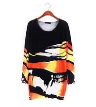 2015 diseño moda mujeres ronda de cuello largo sleevesladies suelta de algodón de punto patrón del suéter del suéter