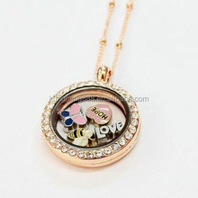 circle memory origami owl locket necklace wholesale,rose gold 25MM round memory locket with CZ stones,stainless steel pendant
