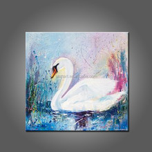 2015 New Painting Beautiful Animals Handmade Oil Painting Swans On Canvas For Living Room And Kitchen Decoration