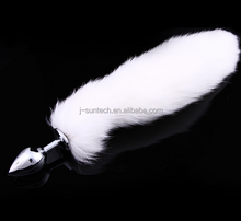 Hot sex toys online shop stainless steel foxtail vagina plug for dog sex woman