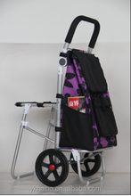 Aluminum foldable shopping trolley with seat