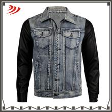 Custom fashion boy denim jacket with leather sleeves