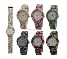 Hot Geneva brand flower print japan movement quartz stainless steel watch water resistant