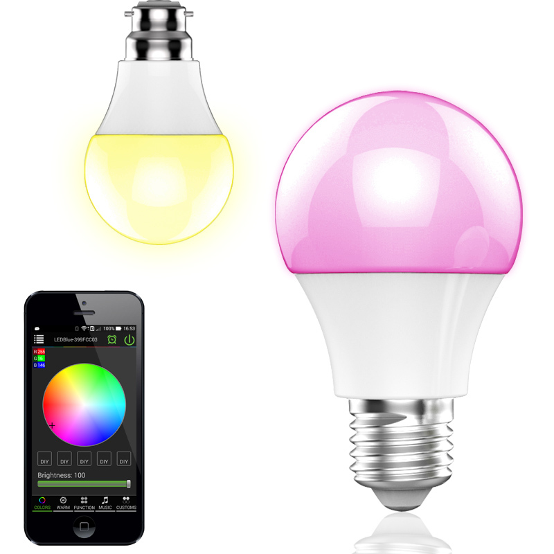 Bluetooth LED Bulb Light, B22 E27 E26 Color Changing Smart LED Light