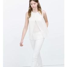 Plain sleeveless white t-shirts casual printed blouses patterns new blouse back neck design