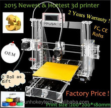 2015 Providing OEM and High accurancy Reprap Prusa I3 3d printer kit with 2KG filament and 8GSD card for free