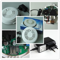 CE approved industrial optical gsm smoke detector alarm with 9v rechargeable battery