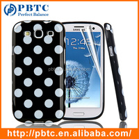 Set Screen Protector And Case For Samsung Galaxy S3 I9300 , Dot Pattern Hard Gel TPU Custom Printed Phone Case