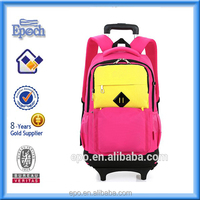 Promotion Wholesale fashion style nylon material children school trolley bag