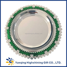 High quality blank souvenir two coloes green gold round metal award plaque