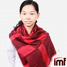 Mejor- venta de modal y mezcla de lana a cuadros bufanda chal para las mujeres