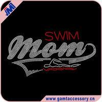 Wholesale Rhinestone Transfers Iron On Dazzling Swim Mom Custom For T-Shirt