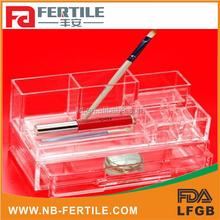 423220 acrylic make up organizer with 3 spaces brush holder,acrylic nail polish opi cosmetic organizer