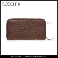 2015 China wholesale best sale ostrich leather ostrich embossed women clutch purse