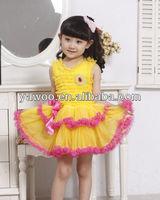 Hot style fashion baby girls chiffon party wear dress kids birthday chiffon dress