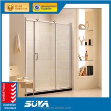 frameless diamond style hinge open simple shower room