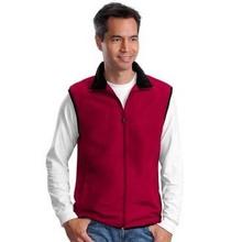 red sleeveless Embroidered Logo Fleece Vest