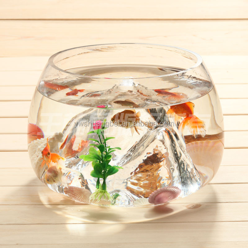 Unique en forme de bocal de verre mini aquarium rond for Mini poisson aquarium