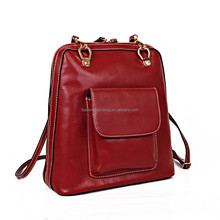2015 new arrival genuine leather canvas bag backpack trend lady bags