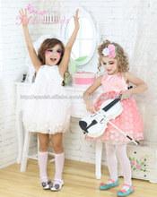 2014 nueva gasa de la llegada 3D de tul rosa decoración muchachas del punto de los vestidos de los vestidos de las muchachas de