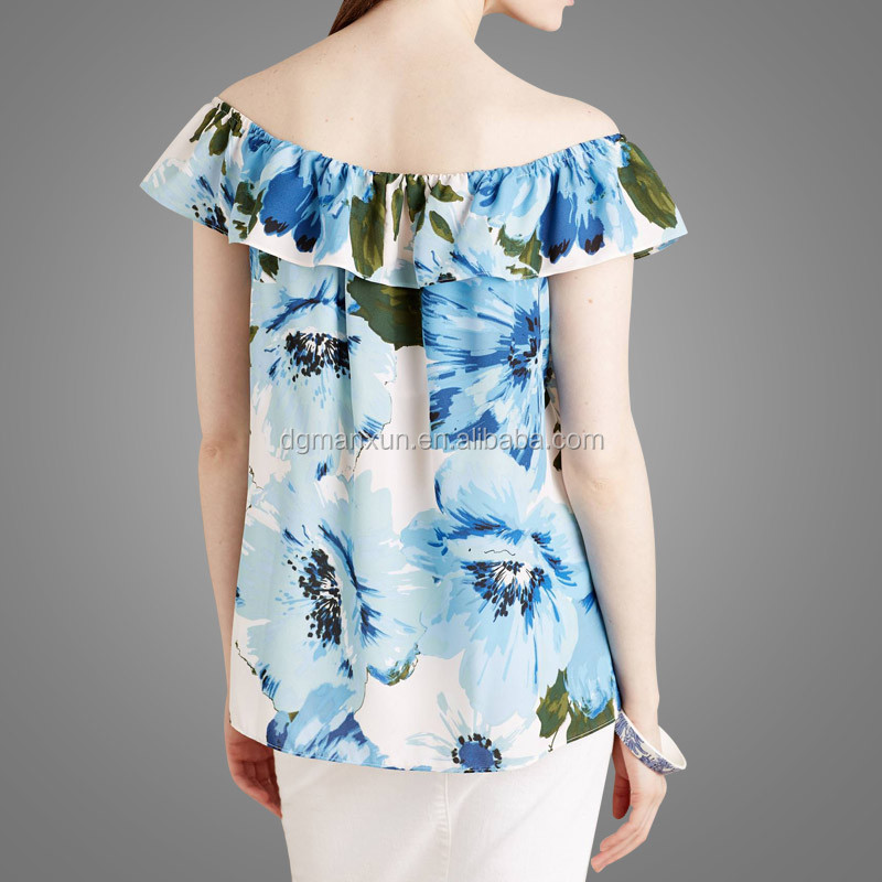 High Quality Off Shoulder Top Floral Printing Tube Top New Fashion Office Skirts and Blouses for Women (2).jpg