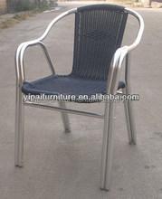 metal color aluminum rattan cafe/bistro chair