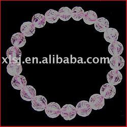Natural Rock Rose Quartz Carved Lotus Flower Bracelet