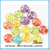 Real flower resin cabochon - pressed flower in clear resin cabochon , colorful natural dried flower resin cabochon