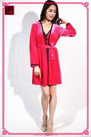 Chinese manufacture high quality red color winter sleepwear long sleeve fancy pajamas