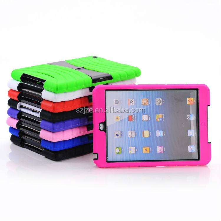PC+silicon hard case for iPad mini retina with stand support ,hot new products for 2014 for ipad mini cover