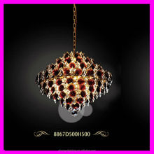 modern clear red k9 crystal water ball pendant lamp with chain chrome color can change crystal D500