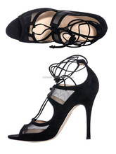 2015 Custom made black women high heel sandals lace up women ankle shoes latest women sandals
