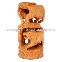 Hand Carved Indian Elephant,Tiger & Camel Shikar Wooden Handicraft Sculpture