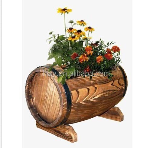 Jardin planteur en forme de tonneau en bois rustique fleur for Solde plante interieur